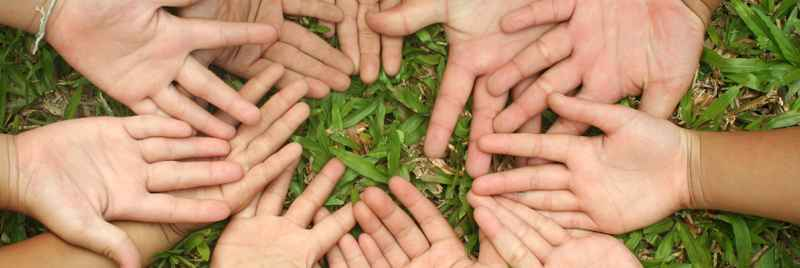 Children's outspread hands forming a circle on a grass backdrop.