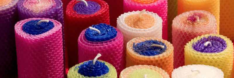 Brightly coloured candles.