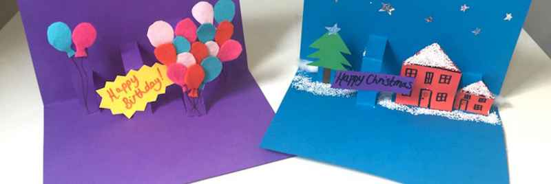 Homemade pop-up birthday and Christmas cards.