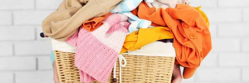 Close up of colourful laundry in a basket.
