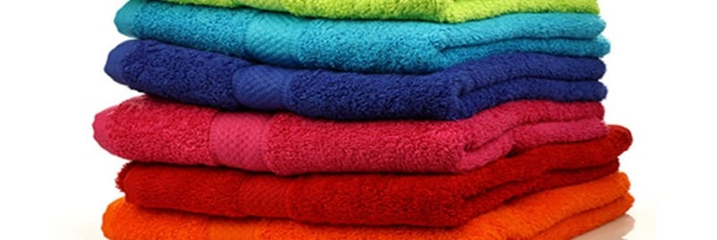 A pile of fluffy coloured towels.