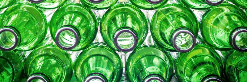 A stack of green bottles.