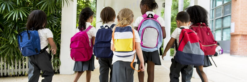 Many children are wearing bags and walking to school.